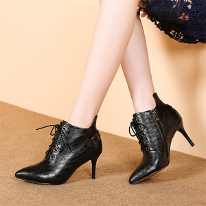 Image 4 - FEDONAS Brand Women Ankle Boots Genuine Leather High Heels Buckles Party Club Pumps Zipper Autumn Winter Ladies Shoes Woman
