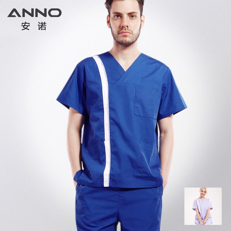 ANNO V neck Medical Classic Nursing Scrubs Medical Uniforms Women Pánské oblečení pro chirurgické šaty Nurse Scrub Tops Kalhoty