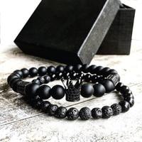 2pcs Set Men Woman Bead Bracelet Crown Charm Bangle Natural Agate Beads Buddha Bracelet For Women