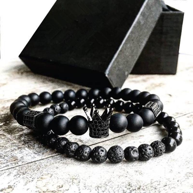 Crown Charm Bracelet: 2pcs/set Men Woman Bead Bracelet Crown Charm Bangle