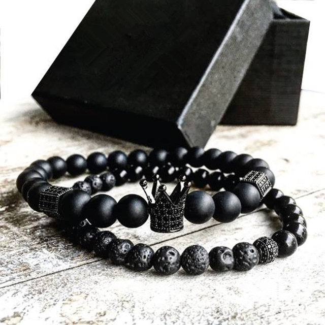 2pcs Set Men Woman Bead Bracelet Crown Charm Bangle Natural Beads Buddha For Women