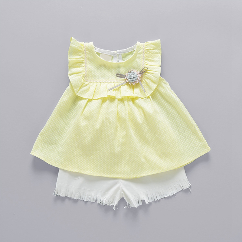 Summer Baby Girls Sleeveless Flower Ruffles Blouse Tops Tassels Shorts Princess Party Kids Two Pieces Suits