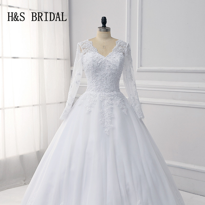 H&S Bridal wedding dress long sleeve with detachable train v neck ...