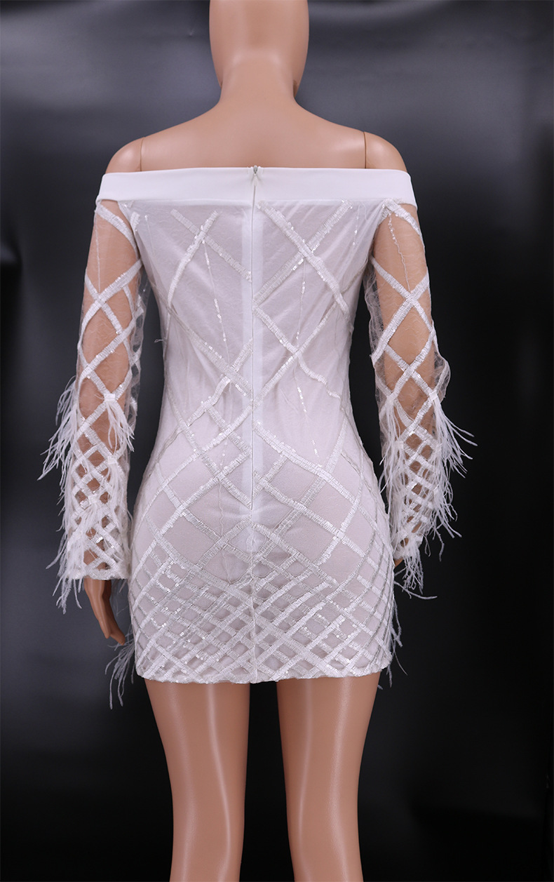 Women Sexy Off Shoulder Feather Dress Mesh Lace Mini Bodycon Dresses Robe Femme Club Outfit Elegant Party Dress Women Vestidos in Dresses from Women 39 s Clothing