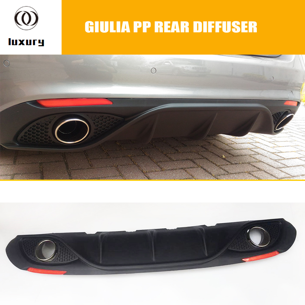 Giulia PP Rear Bumper Diffuser with Exhaust Tips and Red Reflector for Alfa-Romeo Giulia 200p 280p 2016 2017 2018 2019Giulia PP Rear Bumper Diffuser with Exhaust Tips and Red Reflector for Alfa-Romeo Giulia 200p 280p 2016 2017 2018 2019