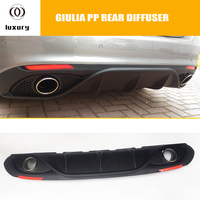 Giulia PP Rear Bumper Diffuser with Exhaust Tips and Red Reflector for Alfa Romeo Giulia 200p 280p 2016 2017 2018 2019