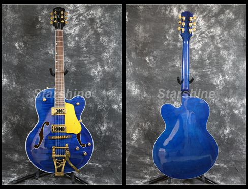 Starshine corps creux guitare électrique YL-JZ60 BB pont or matériel flammé érable haut Grover accordeur L5 Style bons micros