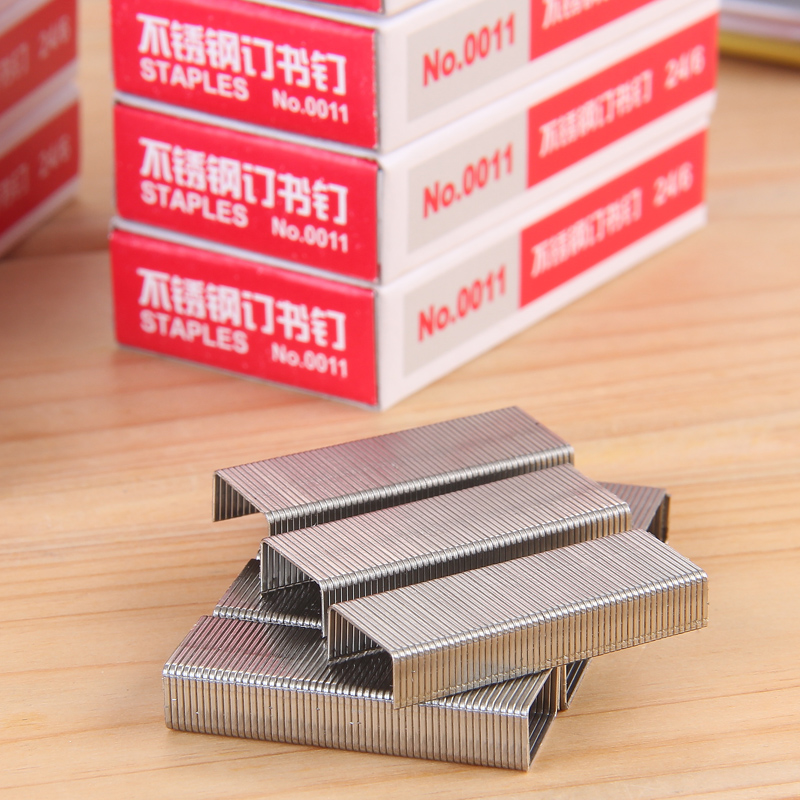 10Packs X 1000Pcs Stainless Steel Staples Standard Size 12mmx6mm 24/6 Silver Color Anti Rusted Office Supplies Deli 0011