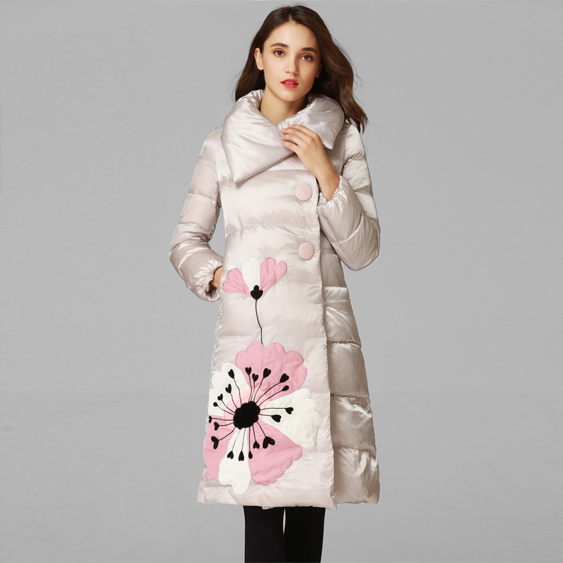 women hooded warm   coat   new winter jacket floral embroideried   down   puffer jacket white duck   down     coat   female thick long outerwear