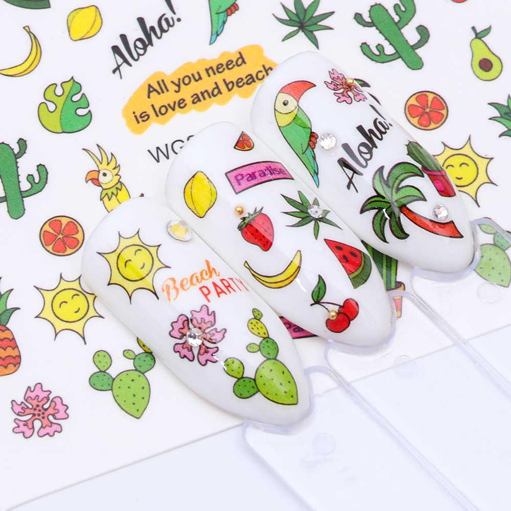 1Pcs Baru Kucing Lucu Hewan/Makanan/Es Krim/Tropis Desain Stiker Kuku Air Mentransfer Manikur Penuh watermark DIY Tato Trwg