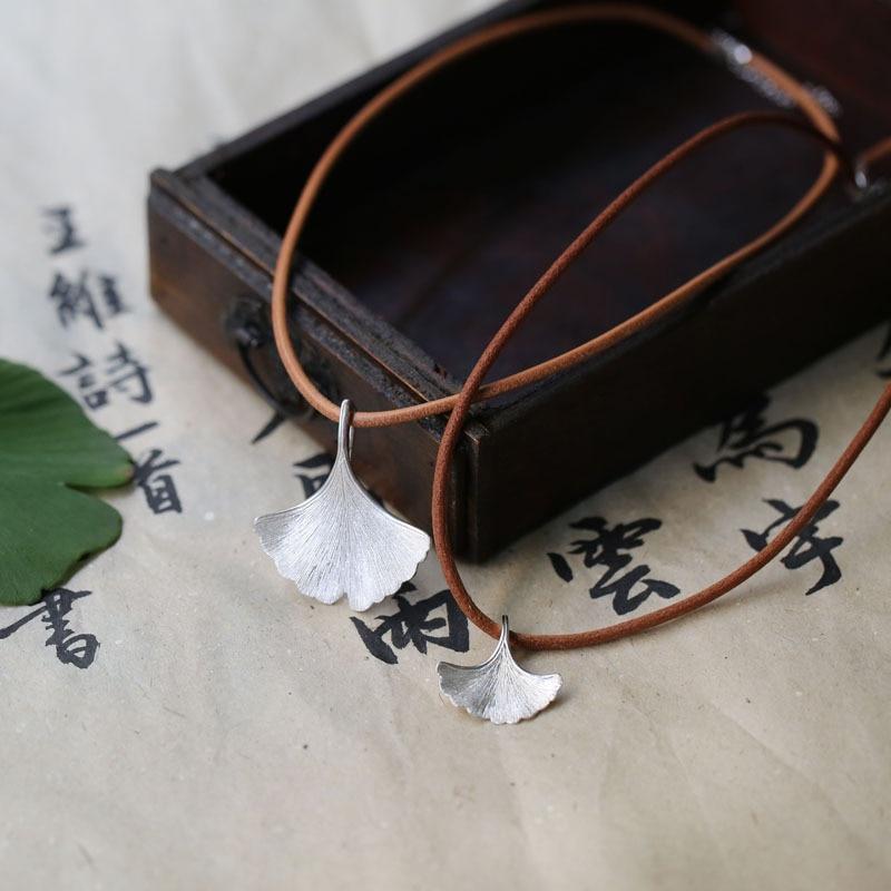 925 ստերլինգ արծաթագույն Ginkgo տերևային - Նորաձև զարդեր - Լուսանկար 3