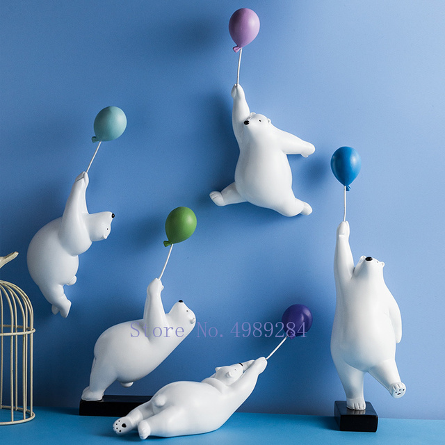 Nordic Creative balloon Polar bear Wall decoration Wall mount Decorative accessories Home living room Background wall hanging