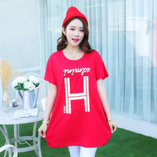 New 2018 summer women Plus Size Women dress short sleeve Loose Casual print tunic dresses XL-5XL cotton letter sweet red