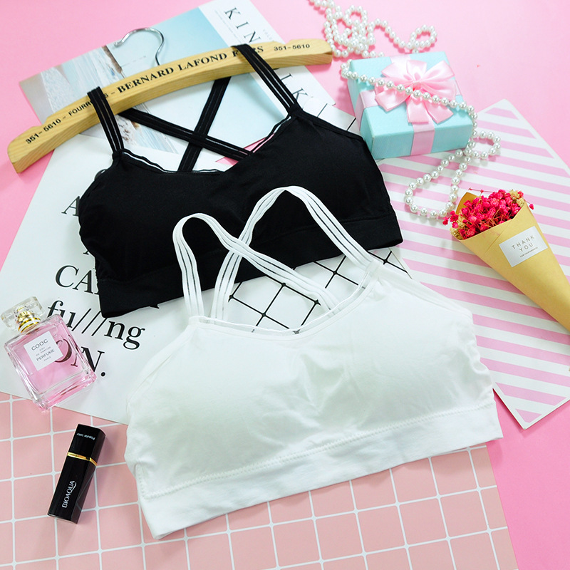 Teenage Girls Training Bras Sport Tank Tops Wireless Elasticity Yoga Bras Black White Kids Underwear Development Clothes
