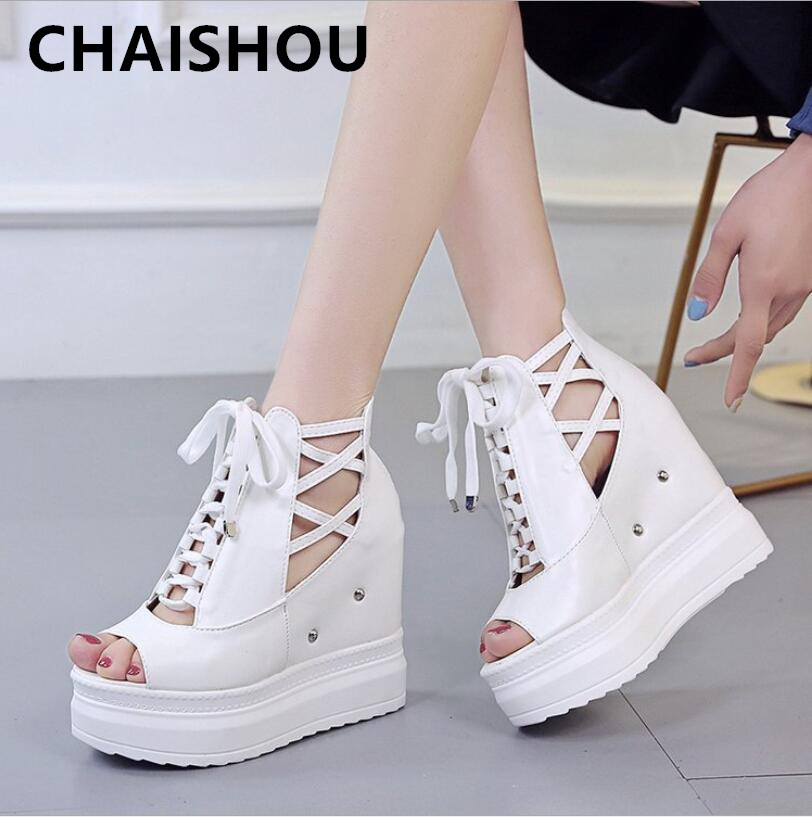 CHAISHOU shoes woman Wedge sandals 2019 summer new white thick bottom high heel fish mouth lace-up platform shoes B-412