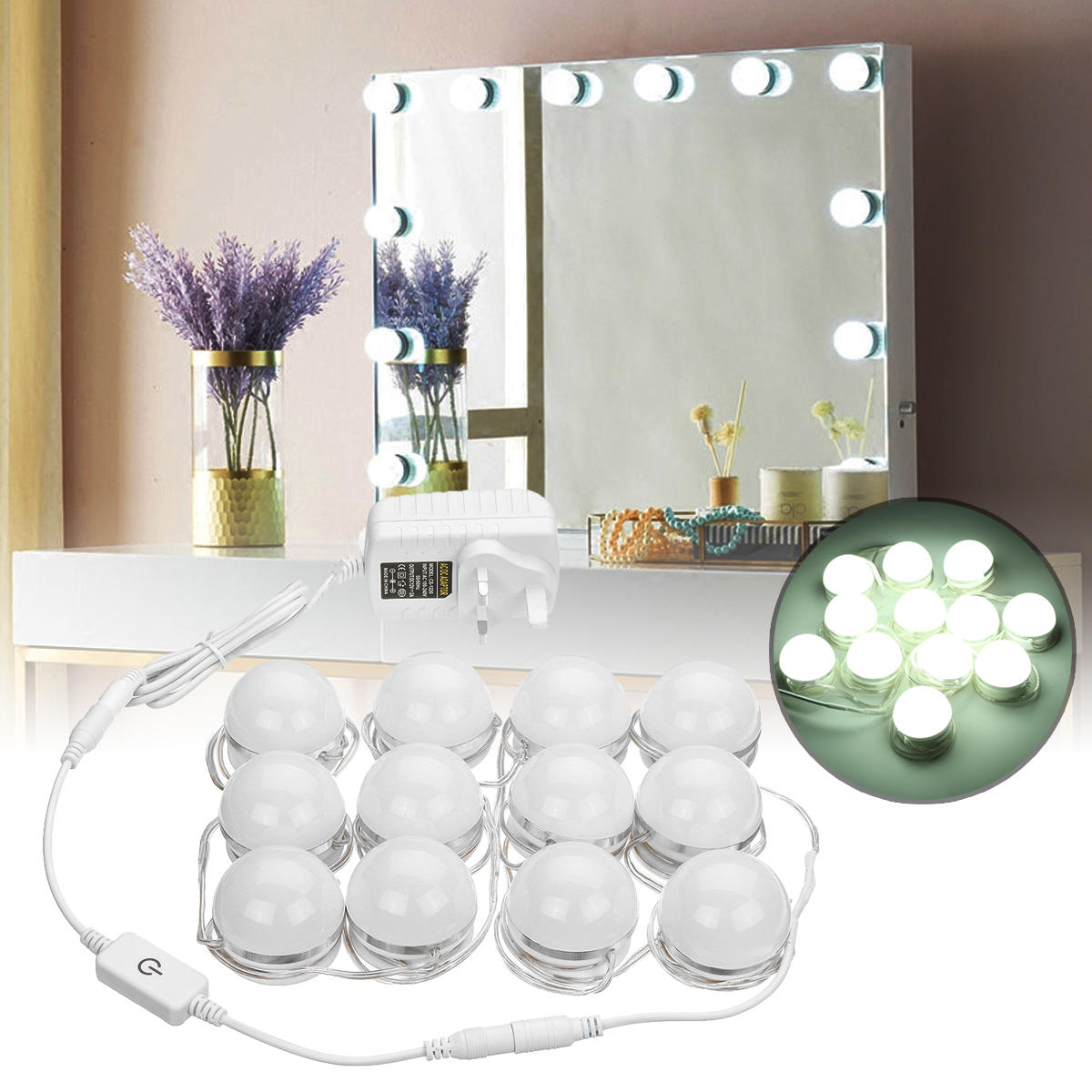 AC100-240V 24 W 12 PC Hollywood Stil LED Eitelkeit Make-Up Dressing Tisch Spiegel Licht Kit + UK/US/ AU/EU Stecker