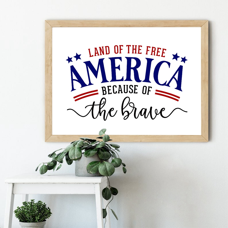 Land of The Free Because of The Brave Quotes Poster Canvas Painting Prints for Rustic Sign & Modern Farmhouse Wall Decoration image