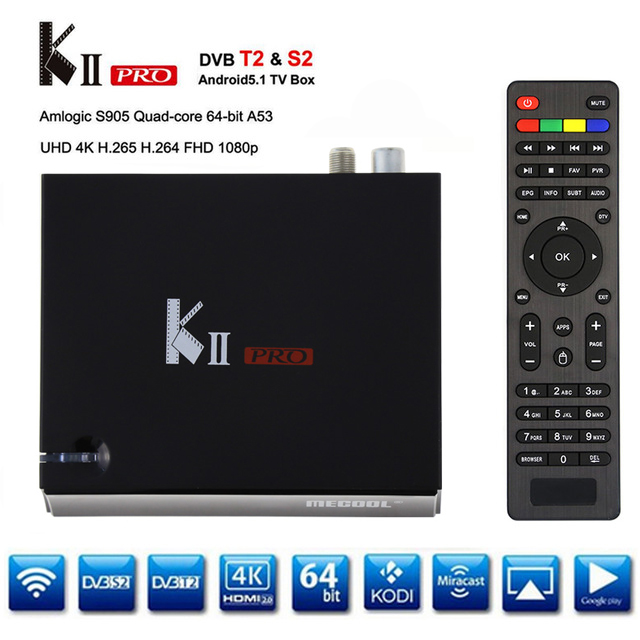 Original KII Pro DVB S2 DVB T2+S2 Android 5.1 TV Box Amlogic S905 Quad-core BT4.0 2GB/16GB 2.4G/5G Wifi set top box Mini PC