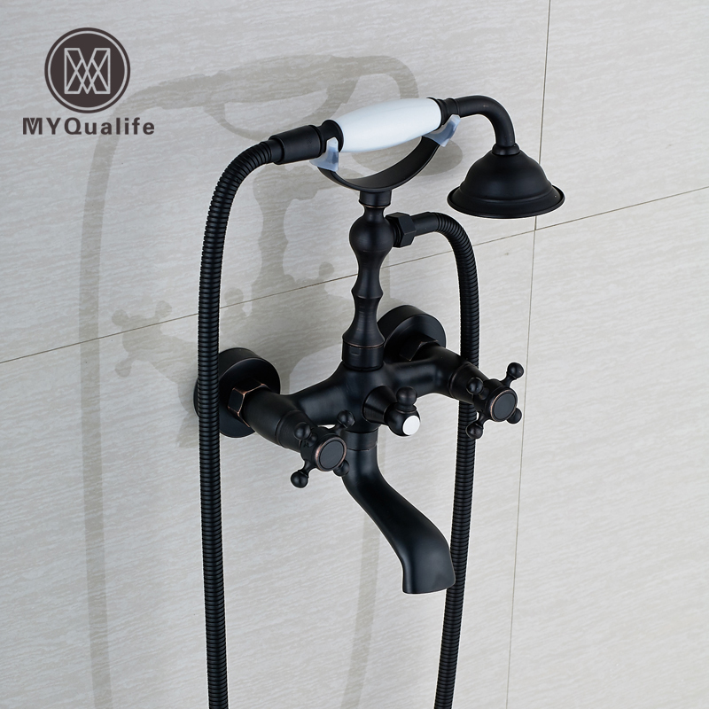 Oil Rubbed Bronze Dual Handle Bathroom Bathtub Sink Mixer Faucet Wall Mounted with Hand Shower Swivel Tub Spout Hot and Cold Wat