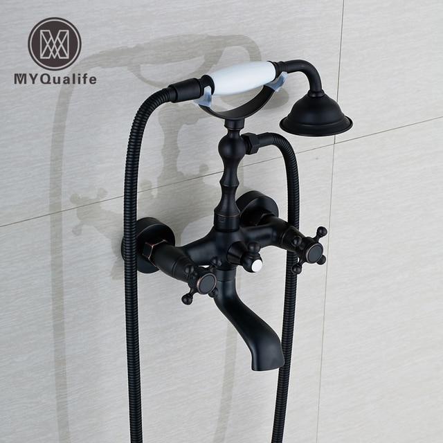 Oil Rubbed Bronze Dual Handle Bathroom Bathtub Sink Mixer Faucet ...