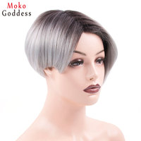 Mokogoddess Ombre Silver Grey Wig Short Wigs For Women Black Synthetic Hair Womens wig
