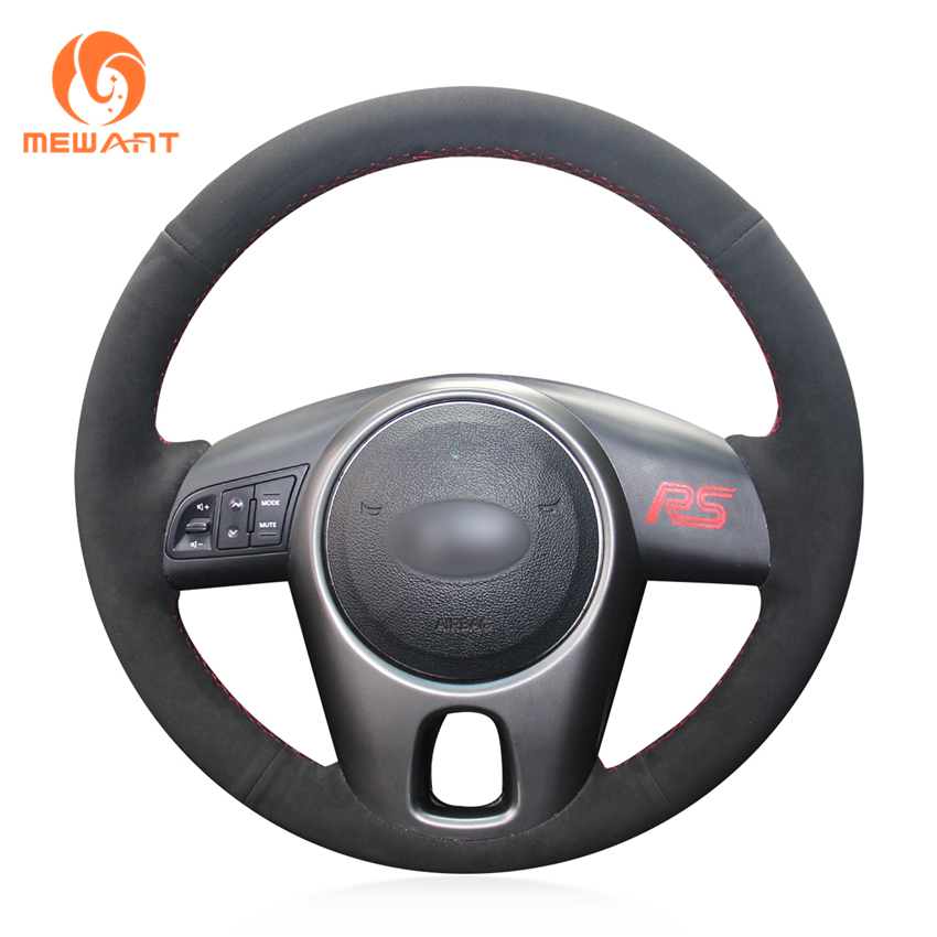 MEWANT Hand-stitched Black Suede Car Steering Wheel Cover for Kia Forte 2009-2014 Soul 2010-2013 Rio 2009-2011 hand stitched black leather steering wheel cover for kia sorento 2009 2014