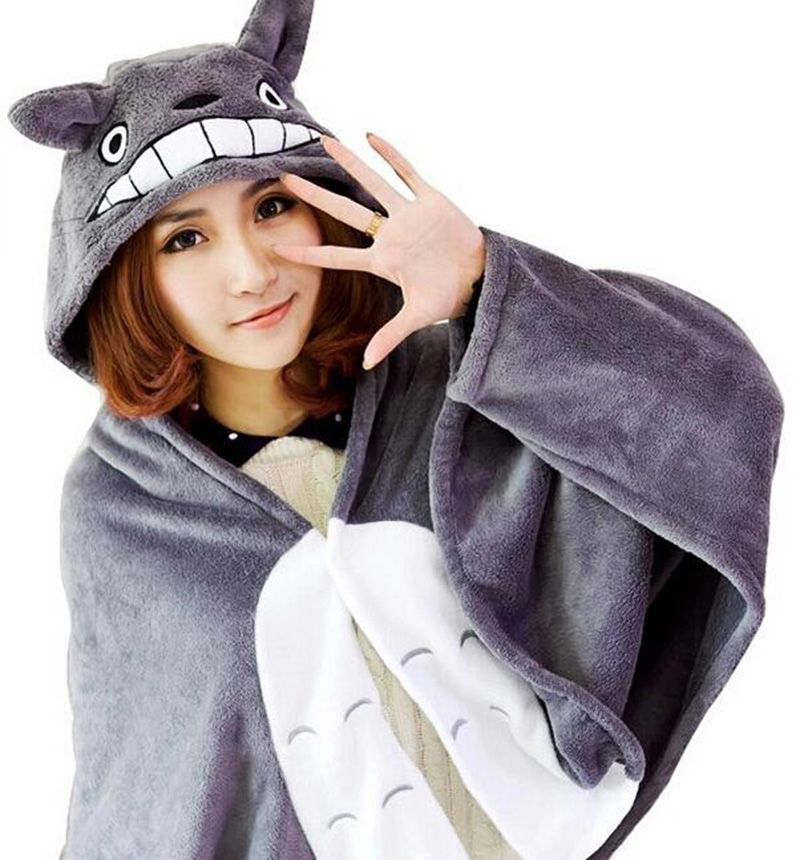 Cosplay Totoro Lovely Plush Capa suave Totoro Cape Cat Cartoon Cloak Coral Fleece Mantas de aire Grandes regalos 150 * 70 cm