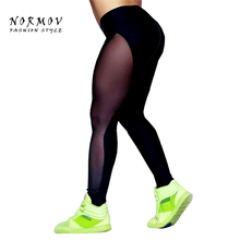 NORMOV Women Sexy Patchwork Mesh Leggings Sexy High Waist Black Fitness Net Yarn Spandex Girls Leggings Women