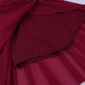 Image 5 - נשים מבוגרים בלט שמלת בלט בגדי גוף לנשים שרוולים לגזור אסימטרית שיפון בלט ריקוד התעמלות בגד גוף שמלה