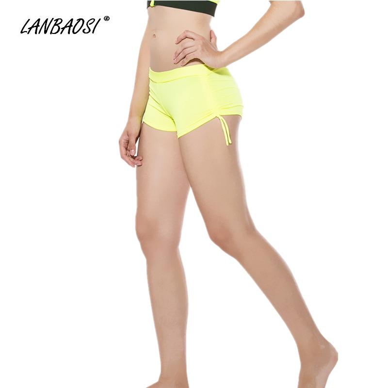 LANBAOSI Hot Sexy Women's YOGA Shorts With Adjustable Ties
