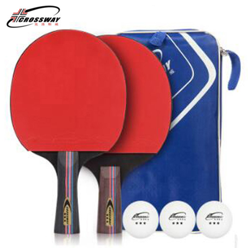 Crossway Table Tennis Rackets Rubber Bat Blade Pen-hold Horizontal Compound Grip Raquete Ping Pong 1 Pair With Bag Balls