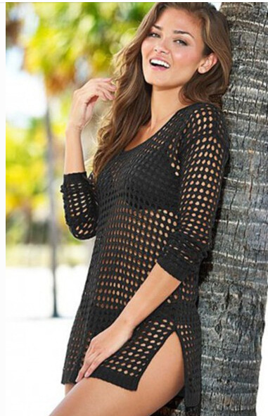 Knitted hollow blouse See through Sheer Sexy women Swimwear dress Crochet cover-ups beach Cover Up Bikini Cover Ups Swimsuit 4