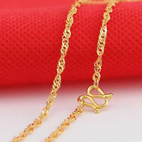 Pure Solid 999 24K Yellow Gold Necklace Women water ripple shape Link Necklace Chain M Clasp P6276