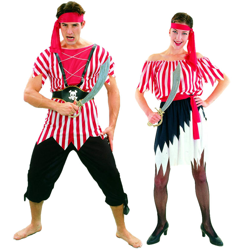 Umorden Halloween Costumes Adult Men Women Captain Pirate Costume Red White Stripe Top Skirt Set Fantasia Carnival Cosplay