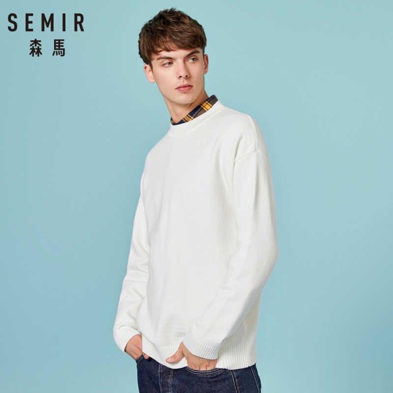 SEMIR мужской свитер тонкой вязки с графической аппликацией сзади, Мужской пуловер, свитер с трикотажной резинкой на горловине, манжетах и подоле для зимы