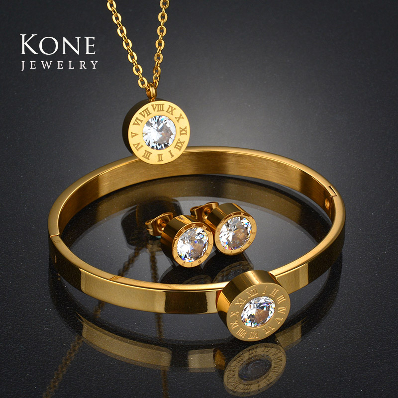 Wedding Roman Numerals Interchangeable Jewelry Set CZ Crystal Gold Color Stainless Steel Necklace Earring For Women