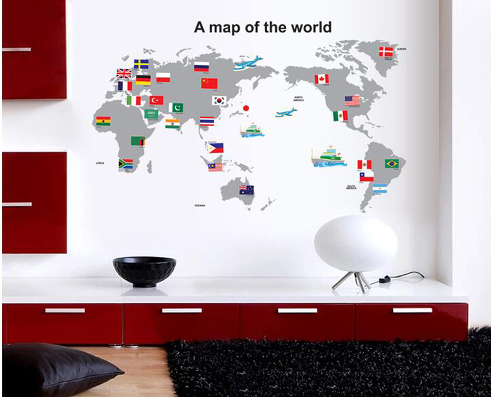 a map with a national flag wallpaper delicate stickers stylish wallpaper flowers applique home improvement household supplies in wall stickers from home