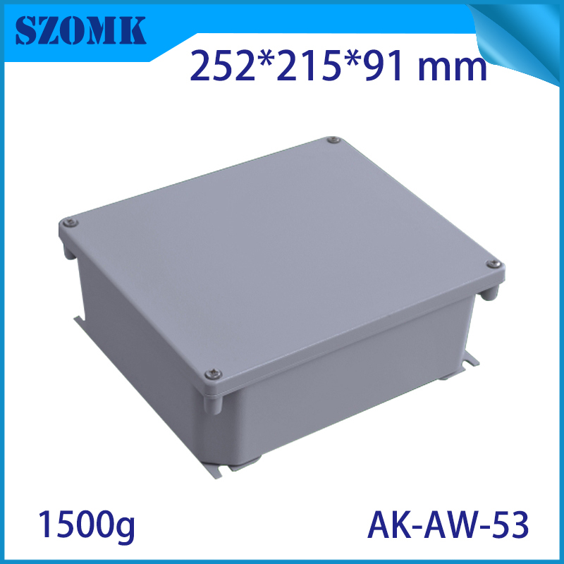 Die Cast Extruded Aluminum Enclosures PCB Instrument Electronic Project Box Aluminum Waterproof Distribution Case 252x215x91mm black extruded aluminum enclosures pcb instrument electronic project box case 100x76x35mm