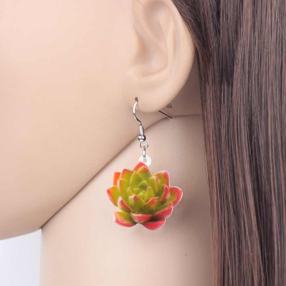 WEVENI Acrylic Novelty Succulent Plant Earrings Drop Dangle New Natural Flower Jewelry For Women Girl 2018 Gift Pet Lover Charms