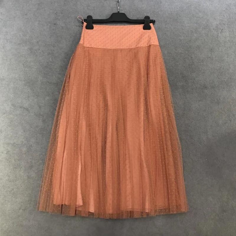 2019 été femmes tulle jupe plissée flocage maille néon mode rétro jupe décontractée doublure en soie