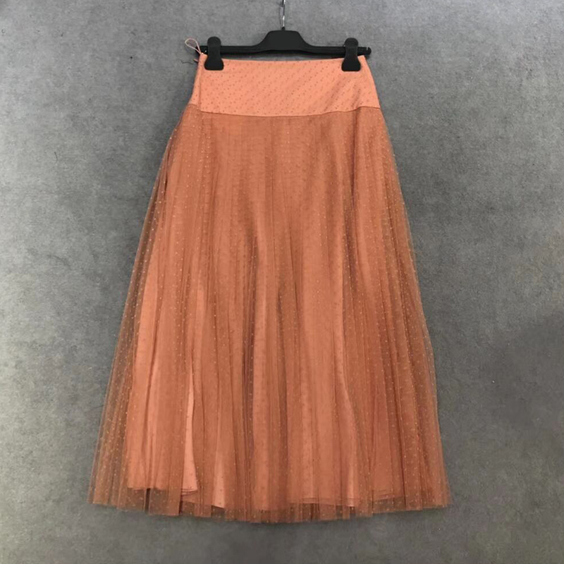 2019 summer women's tulle skirt pleated flocking mesh neon fashion retro casual skirt silk lining