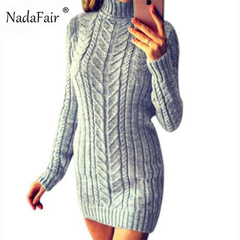 Nadafair Turtleneck Warm Knitted Sweater Dress Women Bodycon Solid Knit Casual Winter Dress