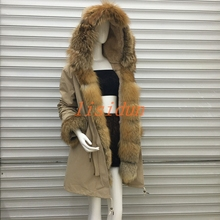 2018 Real fur coat fox parkas winter jacket women parka big real raccoon collar natural liner long outerwear