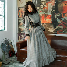 Осень Зима для женщин Викторианский Французский Винтаж Королевский Элегантный тонкий плед Англия Стиль шерстяные длинные платья с ПУ жилет vestidos