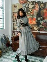 סתיו חורף נשים ויקטוריאני צרפתית בציר מלוכה אלגנטי Slim משובץ אנגליה סגנון צמר ארוך שמלות עם PU אפוד vestidos