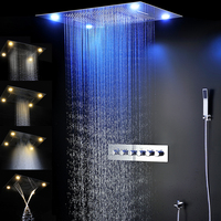 Bathroom Fixture Shower Faucets Ceiling Mounted Waterfall Mist Shower Head Big Rain LED Shower Set High Flow Thermostatic Bath