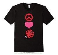 Algodón suelto Camisetas para hombres Cool Tops T Camisas paz amor ladybugs camiseta