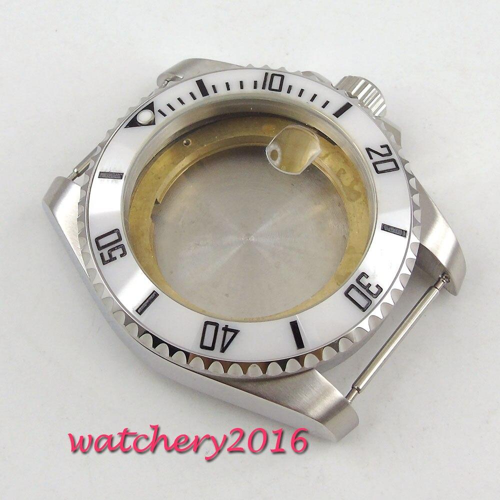 лучшая цена 43mm white ceramic bezel Sapphire Cystal Men's Watch Case fit ETA 2824 2836 Movement