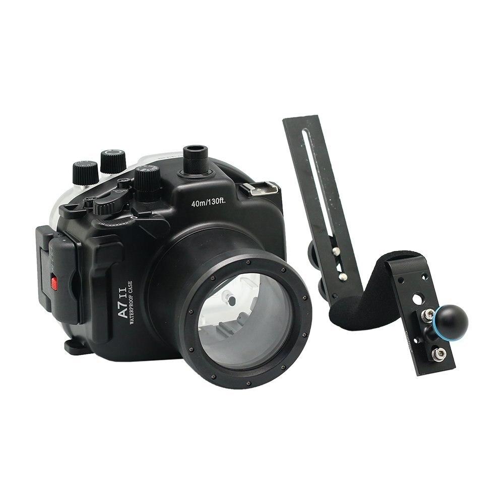 Pour Sony A7 II A7s A7r Mark II 28-70 ILCE-7 ii 28-70mm A7M2 boîtier de caméra de plongée sous-marine étanche + poignée en aluminium