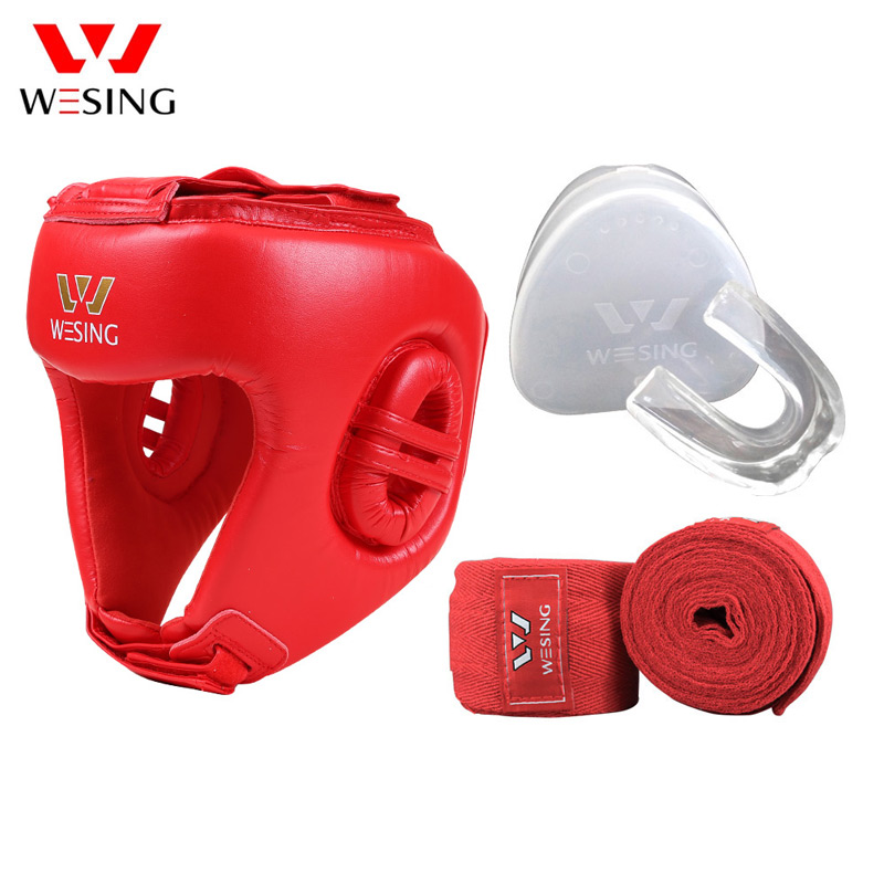 Wesing Boxing Head Guard Mouth Guard Handwrap Set Profession Thai Sanda Competition Training Ptotection Equipment AIBA Approved все цены